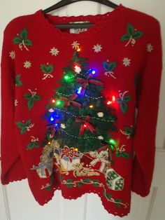 Yep gotta find an ugly Christmas sweater that lights up for this year. Tradition in my household.everyone has to have an ugly sweater for this day. Ugly Christmas Jumpers, Ugly Christmas Sweater Women, Holiday Sweater, Christmas Humor, Christmas Themes, Christmas Lights, Ugly Sweater Party, Personalized T Shirts, Being Ugly