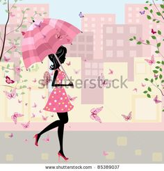 beautiful girl with an umbrella in the city - stock vector id 85389037
