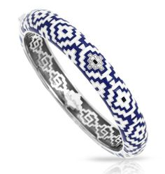 Aztec Collection; Blue and White Bangle; Inspired by ancient civilization, features intriguing geometric designs. Italian enamels combine with 925 Stirling Silver to create a unique look.