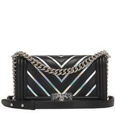 5ea7363145a0 Chanel Black Chevron Iridescent PVC Medium Boy Bag  CHANEL  ShoulderBag