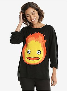 """Who knew a scary and powerful fire demon could be so dang adorable?? This black knit sweater features Calcifer on the front. We do not recommend cooking bacon in it.<div><ul><li style=""""LIST-STYLE-POSITION: outside !important; LIST-STYLE-TYPE: disc !important"""">100% acrylic</li><li style=""""LIST-STYLE-POSITION: outside !important; LIST-STYLE-TYPE: disc !important"""">Wash cold; dry flat</li><li style=""""LIST-STYLE-POSITION: outside !important; LIST-STYLE-TYPE: disc !important"""">Imported</li><li ..."""