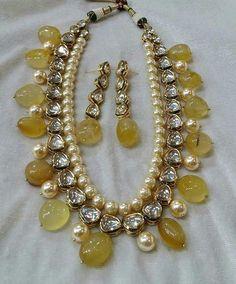Elegantly Royal #kundan #semiprecious #semipreciousstones #pearls…
