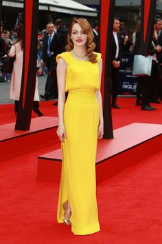 Emma Stone looking statuesque at the premiere of The Amazing Spider-Man 2 in London. via StyleList