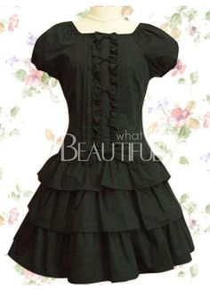 e74d884f11 Black Short Sleeves Ruffles Bow Cotton Sweet Lolita Dress on sale