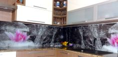Grafické sklo sklenená zástena