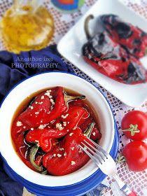 Az otthon ízei: Sült kápia paprika saláta Izu, Shrimp, Minden, Vegan, Vegetables, Recipes, Food, Diet, Red Peppers