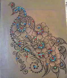 henna peacock art on canvas, embolished with crystals. Great as a home, office or cafe wall decor.