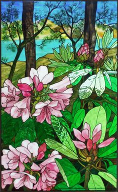 Gable Rhododendron stained glass window by Robert Oddy Stained Glass Quilt, Tiffany Stained Glass, Stained Glass Flowers, Stained Glass Designs, Stained Glass Panels, Stained Glass Projects, Stained Glass Patterns, Leaded Glass, Mosaic Art