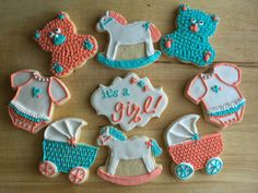 Baby shower cookies - custom made for a teal & coral themed baby shower, these organic and all natural sugar cookies are perfect as a centerpiece!