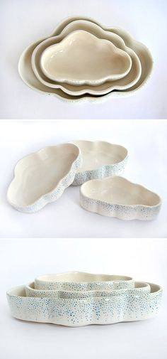 Use these nested, raindrop-speckled cloud bowls from Spanish ceramics collective Barruntando to store jewelry, serve hors d'oeuvres, or simply to decorate your coffee table. #etsy