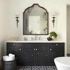 Black Moroccan Star Washstand with Black and White Mosaic Tiles - Mediterranean - Bathroom Modern Moroccan Decor, Morrocan Decor, Moroccan Bathroom, Moroccan Style, Black Vanity Bathroom, White Bathroom, Master Bathroom, Bathroom Vanities, Small Bathroom