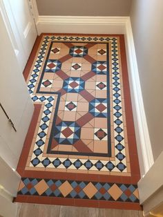 Gullane Part 2 - March 2015 Full floor image from our recent vestibule contract. Modified design created by Welby & Wright influenced by our Original Style collection. Hall Tiles, Tiled Hallway, Hallway Flooring, Victorian Hallway, Victorian Tiles, Floor Design, Tile Design, Hearth Tiles, Porch Tile