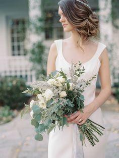 Rose and greenery wedding bouquet: http://www.stylemepretty.com/2017/03/15/al-fresco-simple-rustic-wedding-inspiration/ Photography: Michael and Carina - http://www.michaelandcarina.com/