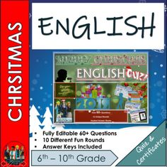 End of Term English Christmas Quiz 2019 - 60+ Questions in 10 varied topic question rounds **Full 1 hour Lesson*** Over 10 rounds and 60+ Questions. Christmas Quiz. This resource contains:* 1x PowerPoint with questions and answers* 1x Student Answer Sheet double sided out of /60+ Marks* 3 sets of Ed... Emoji Christmas, Christmas Quiz, Christmas Trivia, Christmas History, English Christmas, History Activities, English Activities, Famous Christmas Movies, Famous People In History
