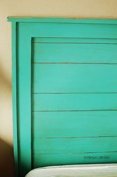 Diy headboard wooden kids ana white new ideas Turquoise Headboard, Bedroom Turquoise, White Headboard, Wood Headboard, Headboard Ideas, Queen Headboard, Handmade Headboards, Diy Headboards, Painted Furniture
