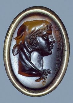 Theseus wearing the skin of the bull of Marathon on a 1st C Roman ring in St. Petersburg