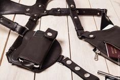 Купить Сумка кобура скрытого ношения с чехлом для телефона из коричневой кожи - коричневый, однотонный
