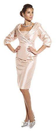 La Belle 17665 Short Suit Dress - Blush size 14 - 3/4 Sleeve, V-Neck, Wrap Jacket, Slim Knee Length Skirt