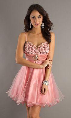 Short Pink Spaghetti Strap Babydoll Dress