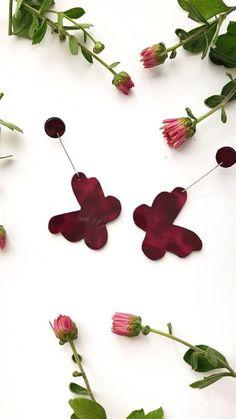 Butterfly Earrings, Purple Leather Jewelry, Statement Drop Earrings, Burgundy Dangle Earrings, Funky Jewelry for Butterfly Lovers, Botanical