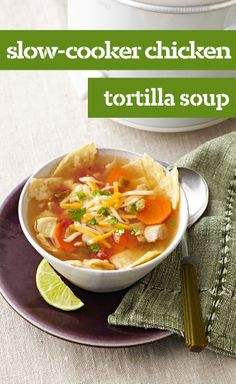 Slow-Cooker Chicken Tortilla Soup — Cheese tops bowls of chicken tortilla soup that literally cooks itself in a slow cooker. Enjoy your time away from the stove!