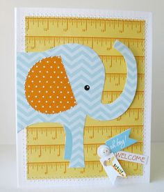 Welcome Baby Card......the measuring tape in the backround is the perfect touch!