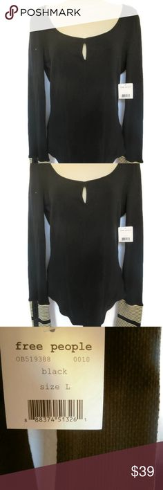 SALE Free People Mod Thermal Deep Black Key NEW Free People Mod Thermal Tee Deep Black  Sizes Vary     5% spandex     Free People Mod Stripe Cuff tee.     Women's long sleeve tee.     Keyhole cutout at center front.     Striped detail at cuffs.     Rounded bottom hem.     Deep Black Free People Tops Tees - Long Sleeve