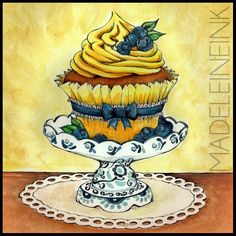 Blueberry Delft Cupcake - Original Pen and Watercolor Artwork By Madeleine Bellwoar