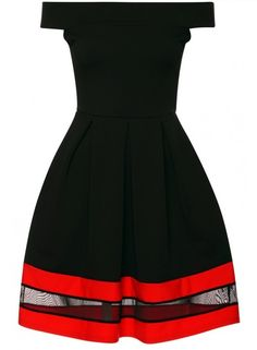 NEW WOMENS LADIES CELEBRITY LOOK JERSEY MESH PANEL RED FLARED PARTY SKATER DRESS