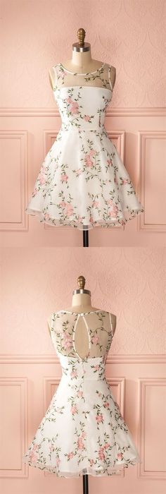 A-Line Round Neck Keyhole Back White Tulle Short Homecoming Dress with Appliques cute floral white short homecoming dresses for teens, a line knee length Elegant Dresses, Pretty Dresses, Beautiful Dresses, Floral Dresses, Floral Clothing, Floral Lace, Dance Dresses, Short Dresses, Dresses Dresses