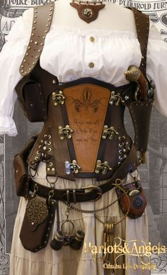 "36"" waist  Steampunk  'Cthulhu''  Explorer Corset "" Veggie""' Leather. $195.00, via Etsy."