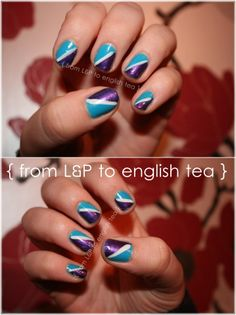 Blue and purple nails.