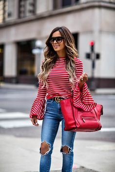 Women Outfits Striped Shirt And Skinny Jeans 12 Spring Summer Fashion, Spring Outfits, Autumn Fashion, Style Summer, Red Outfits For Women, Clothes For Women, Casual Outfits, Fashion Outfits, Womens Fashion