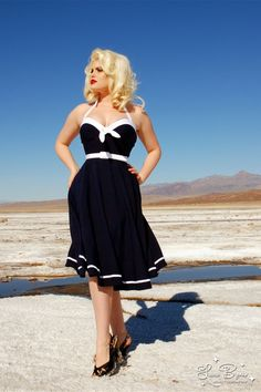 Sailor Swing Dress in Navy with White Trim by Pinup Couture $118 at pinupgirlclothing.com