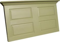 Vintage Headboards designed this headpiece for a queen size headboard.  Shown here in satin Olive Green it can be ordered in any color you like.  This can be ordered with legs or with a wall mount bracket for $45 additional. photo Queensize4panelheadpieceonly.jpg
