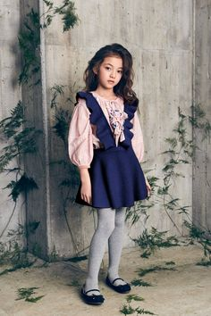 cotton & silk blouse with front tassels, with shoulder embroidery in Peony Petal Gold Ermine, Villus Viscose & Nylon knit jumper with ruffle straps in Midnight Blue Girly Girl Outfits, Cute Girl Dresses, Kids Outfits, Kids Christmas Outfits, Christmas Fashion, Knit Baby Dress, Kids Winter Fashion, Girls Blouse, Tween Fashion