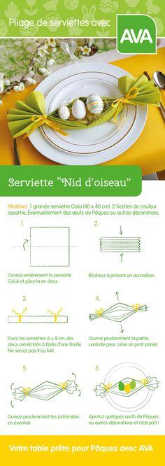 Préparez votre table pour Pâques avec un magnifique nid d'oiseau en coloris jaunes et verts à déposer sur votre assiette. Pliage simple.