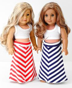 Chevron striped maxi skirts by AvannaGirl on Etsy. Made from the Mitered Maxi Skirt Pattern. Find it here https://www.pixiefaire.com/products/mitered-maxi-skirt-18-doll-clothes. #pixiefaire #miteredmaxiskirt