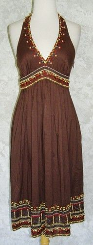 BCBG MAX AZRIA Brown Beaded Embroidered Halter Dress 4 Wooden Beads Empire Full   $49.99