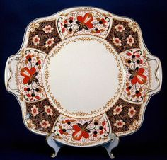 Johnson Bros Rutland Edwardian Lugged Cake Plate Imari Pareek 1913-1928