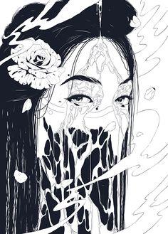 Conrado Salinas - Birth (black and white) Dark Art Drawings, Art Drawings Sketches, Drawing Art, Arte Horror, Horror Art, Manga Art, Anime Art, Arte Emo, Japanese Horror