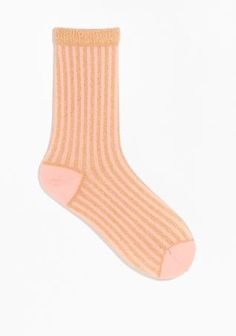 & Other Stories Shiny Rib Socks in Light Pink