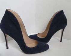 Gianvito Rossi Navy Blue Suede High Back Heels/Shoes Size 39 #GianvitoRossi #Heels