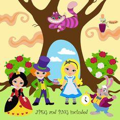50 WONDERLAND Digital Clipart Alice in by SandyDigitalArt on Etsy, $2.50