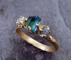 Raw blue green Indicolite Tourmaline Diamond Gold by byAngeline