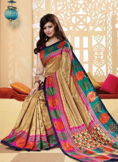 Online shopping of saree, latest saree designs, saree collection online. Grab this glowing multi colour printed saree for casual and party.