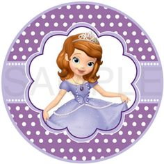 Printable Sofia the First Labels. 2 inches. Round labels. Digital File only.