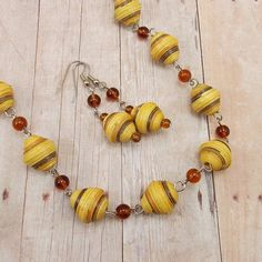 Paper Bead Necklace and Earring Set - Rwandan Paper Beads - Golden Yellow with Brown Stripes