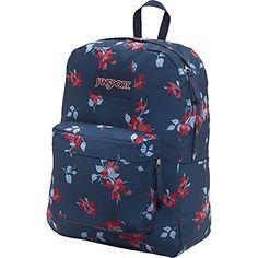 JanSport Superbreak Backpack- Discontinued Colors (Navy Sweet Blossom)