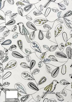 White Cotton Linen Fabric With Sketch Birds Leaves by fabricmade